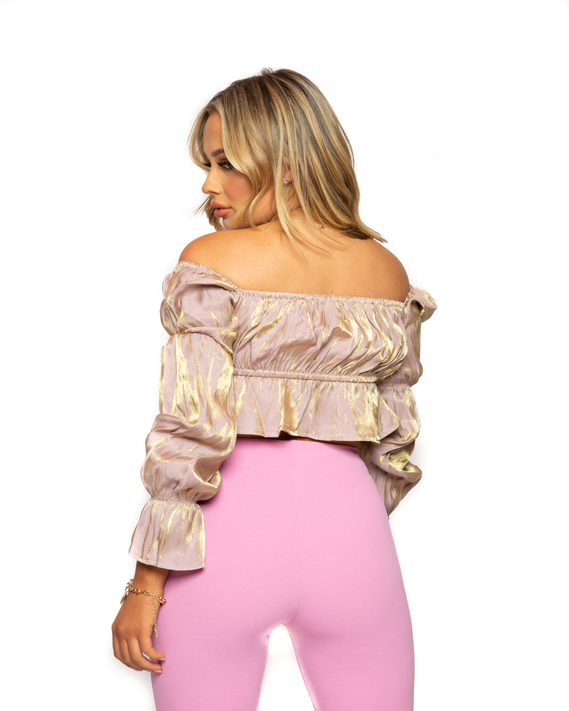 Saffy T Nude Metallic Ruffle Crop Top