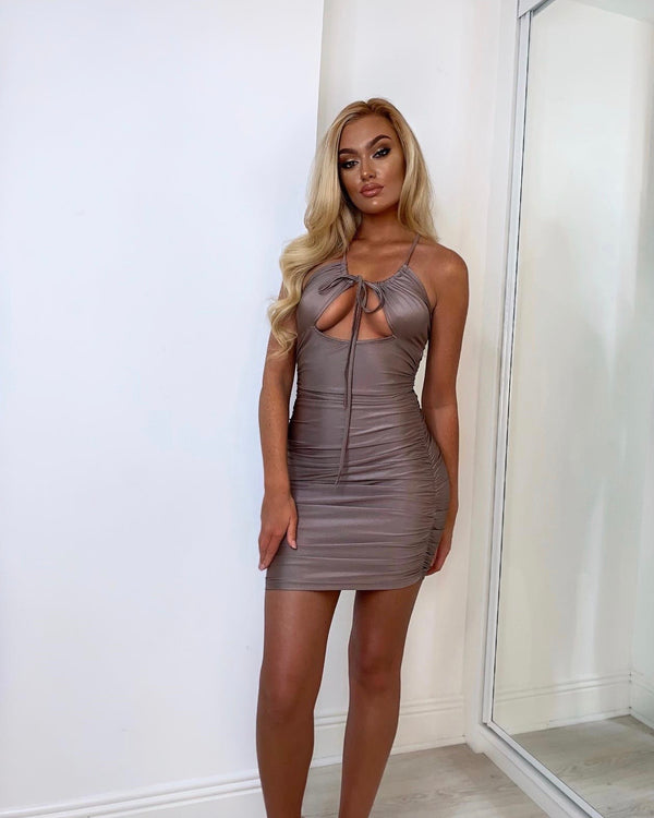 Bronze Ruching Cut Out Front Cross Back Mini Dress