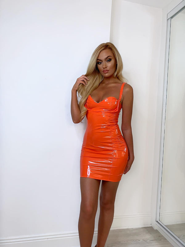 Orange PVC Mini Dress