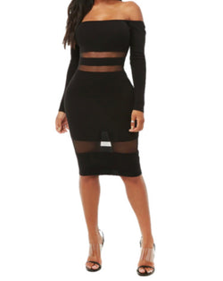 Kimberly Black Mesh Panel Bodycon Dress