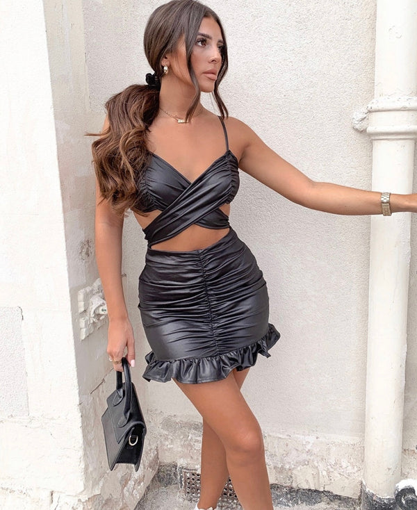 Sass Wet Look Ruched Cut Out Mini Dress