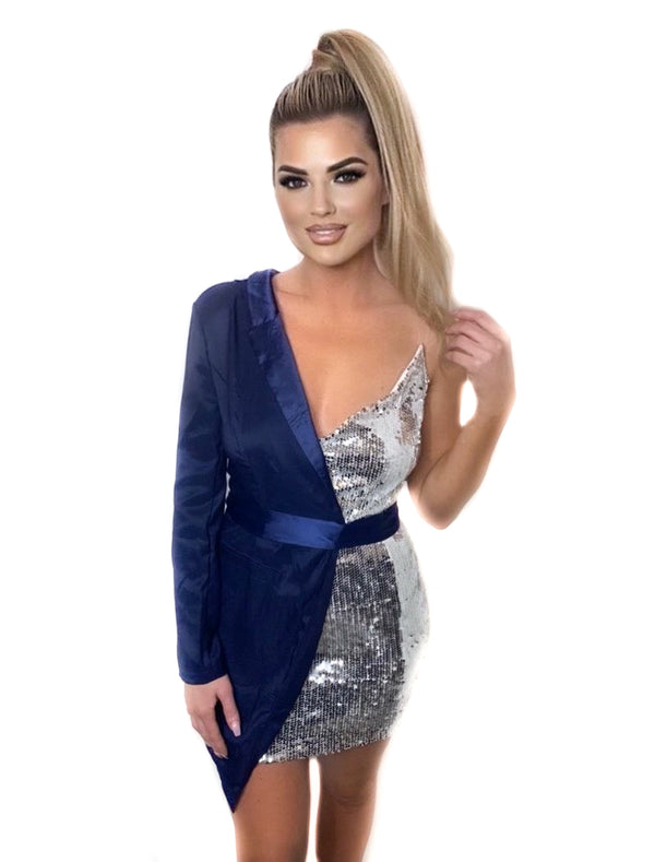 Blazer One Shoulder Silver Sequin Dress