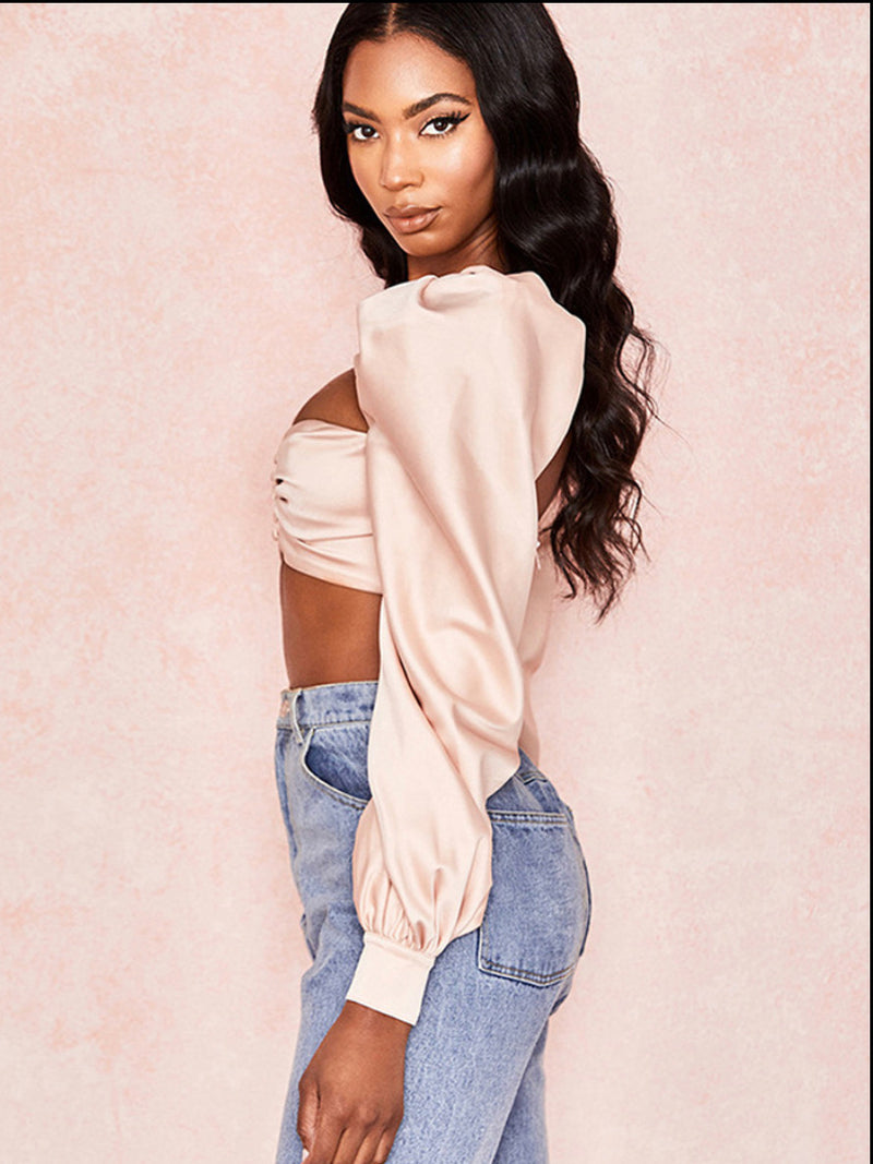 Satin Puff Long Sleeve Crop Top Blouse