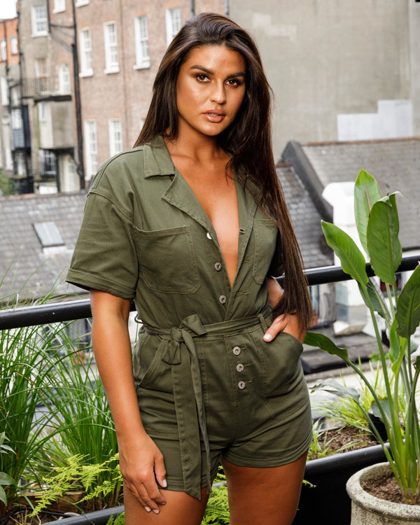 Khaki Denim Boiler Playsuit