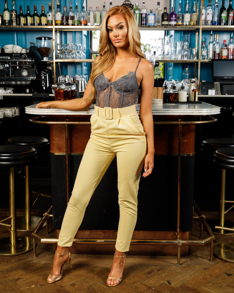 Yellow High Waisted Self Belt Tapered Trousers
