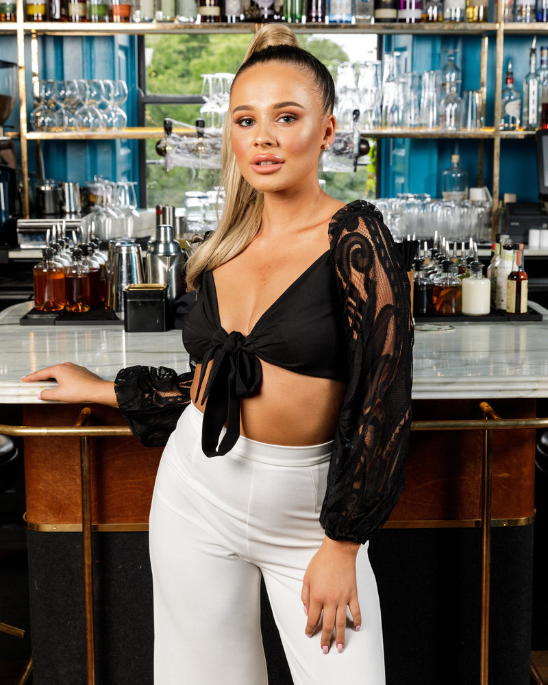 Black Lace Sleeve Crop Top