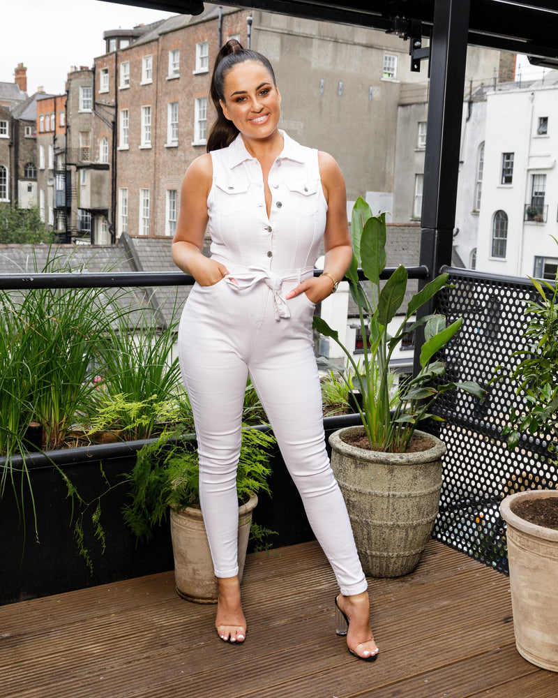 Button Up Denim Waist Tie Jumpsuit