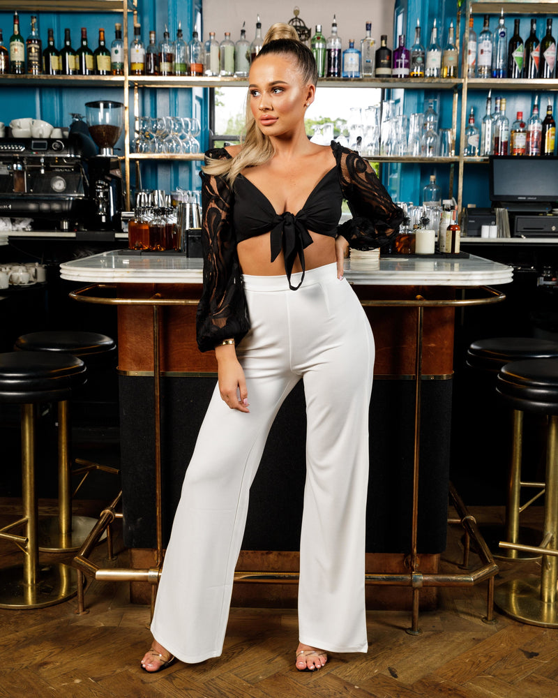 Cream High Waisted Wide Leg Trousers