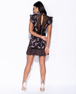 Floral Printed Detail Lace Panel Frill Trim Dress
