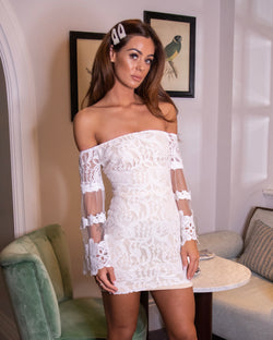Bardot Lace Flared Sleeve Bodycon Mini Dress