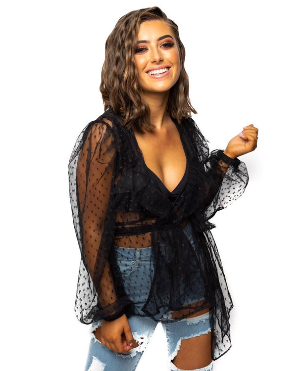 Black Spot Mesh Wrap Top