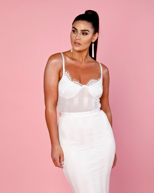 White Lace & Stripe Mesh Midi Dress