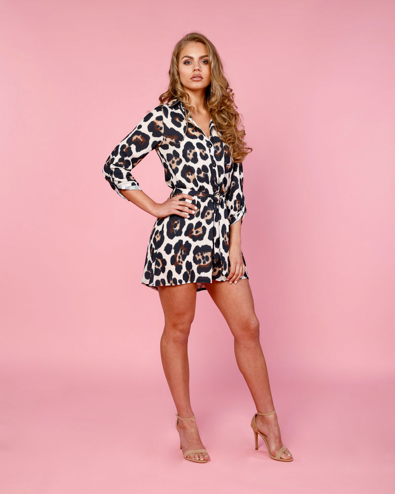 Beige Animal Print Shirt Dress