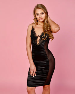 Silky Trim Body-Con Dress