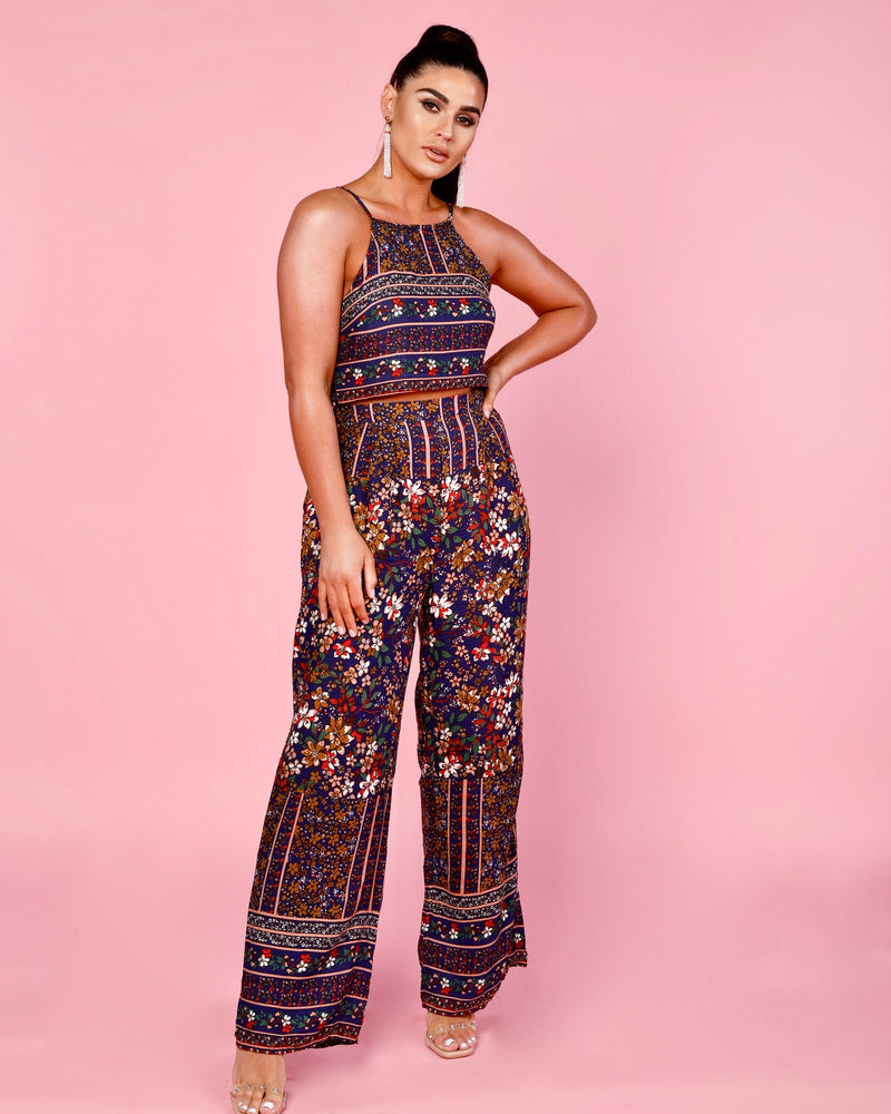 Jasmin Floral Crop Top & Wide Leg Trouser Co-Ord Set
