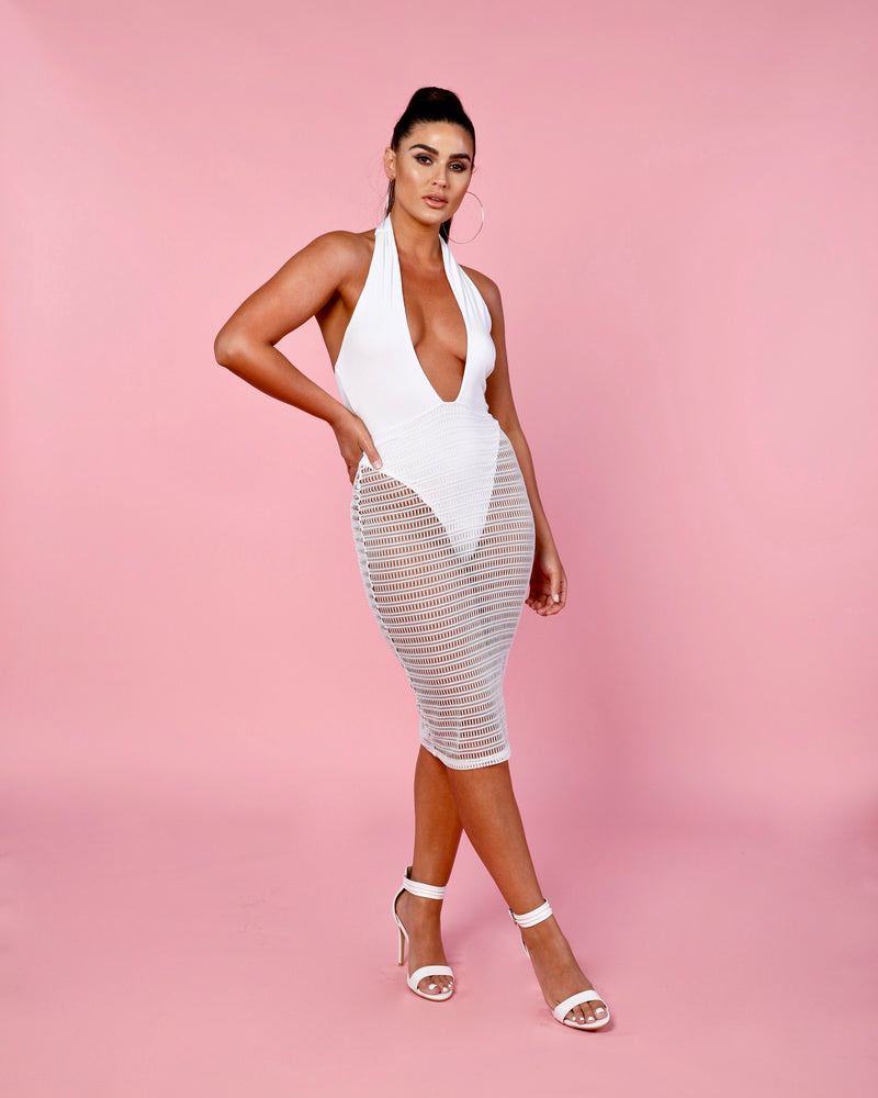 Twist Net Midi Dress