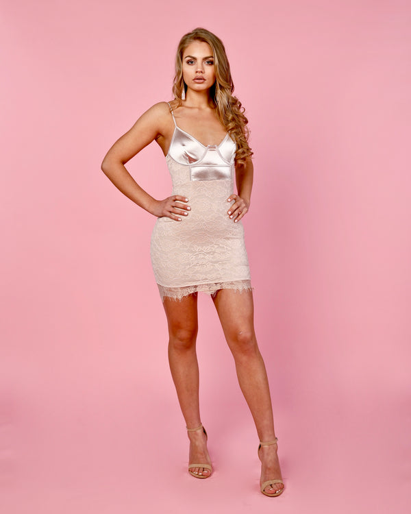 Champagne Satin Top Lace Bodycon Dress