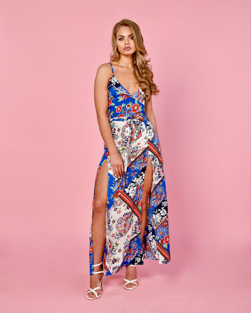 Scarf Print Frill Thigh Split Maxi Dress