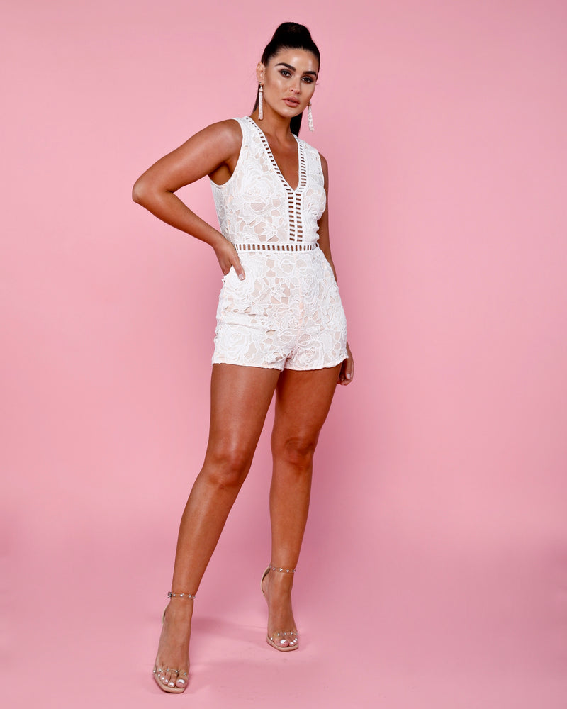 Lace V Neck Sleeveless Playsuit