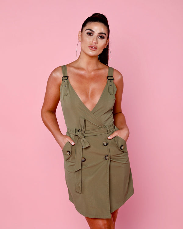 Khaki Wrapover Dress