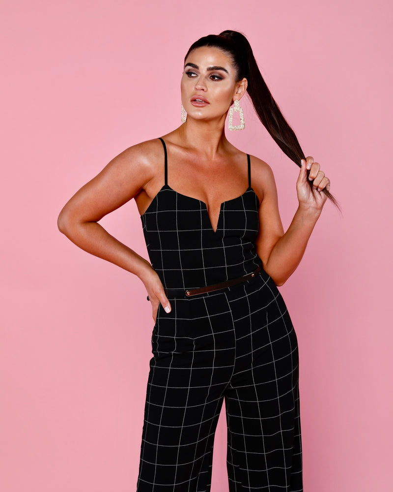Leanne Grid Print Belted Jumpsuit