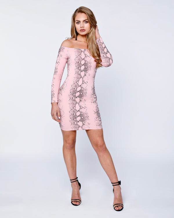 Snake Print Long Sleeve Bandeau Bodycon Dress