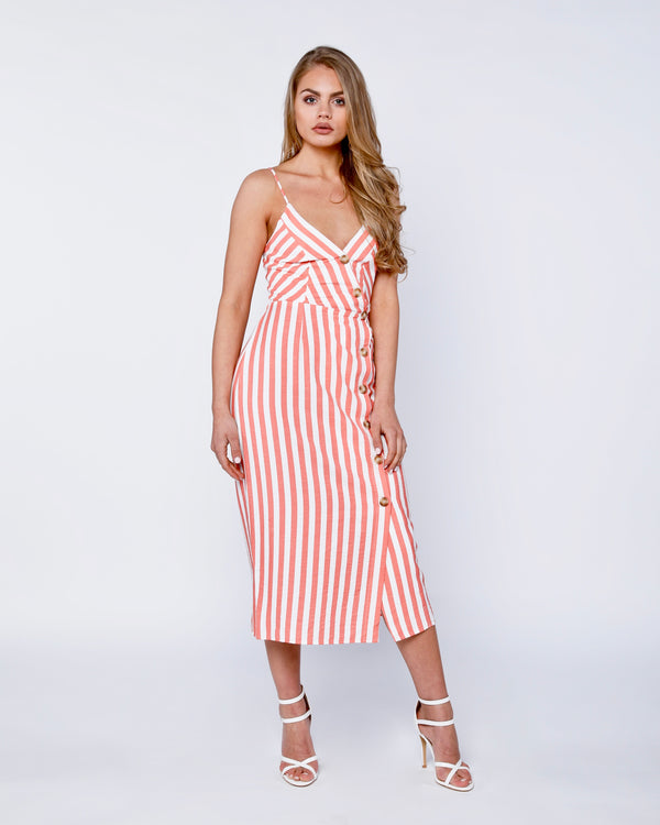 Button Stripe Cottage Dress