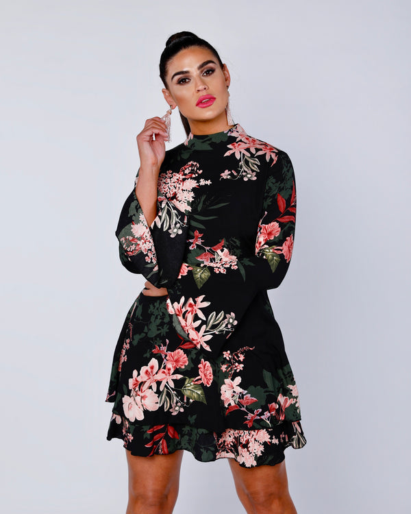 Floral Flare Sleeve Frill Hem Shift Dress