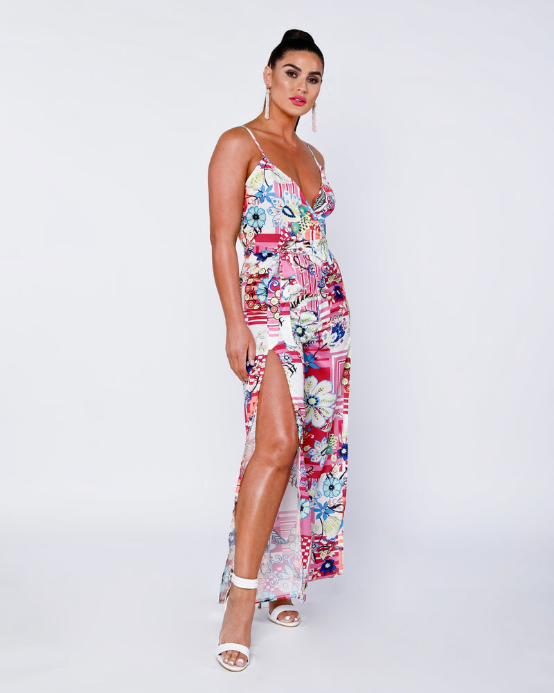 Floral Wrap Front Thigh Split Jumpsuit