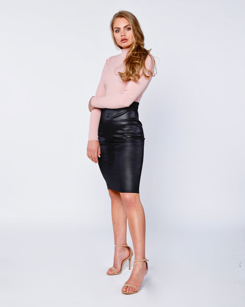 High neck wet look skirt stella dress