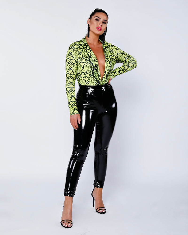 High Shine Vinyl High Waisted Jegging Trousers