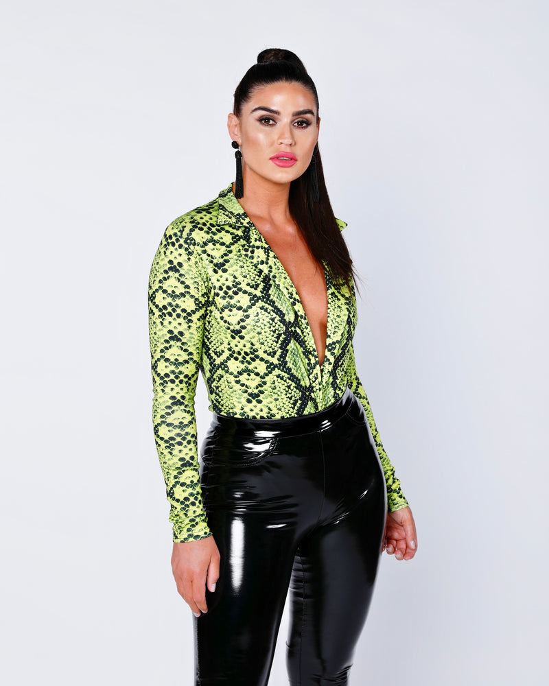 Snake Print Wrap V Neck Long Sleeve Bodysuit