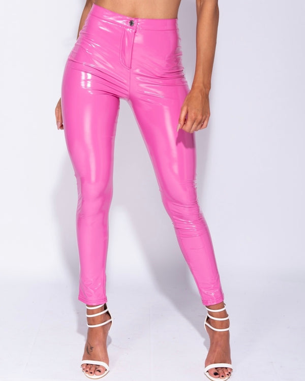 Wetlook Vinyl PU High Waisted Skinny Trousers