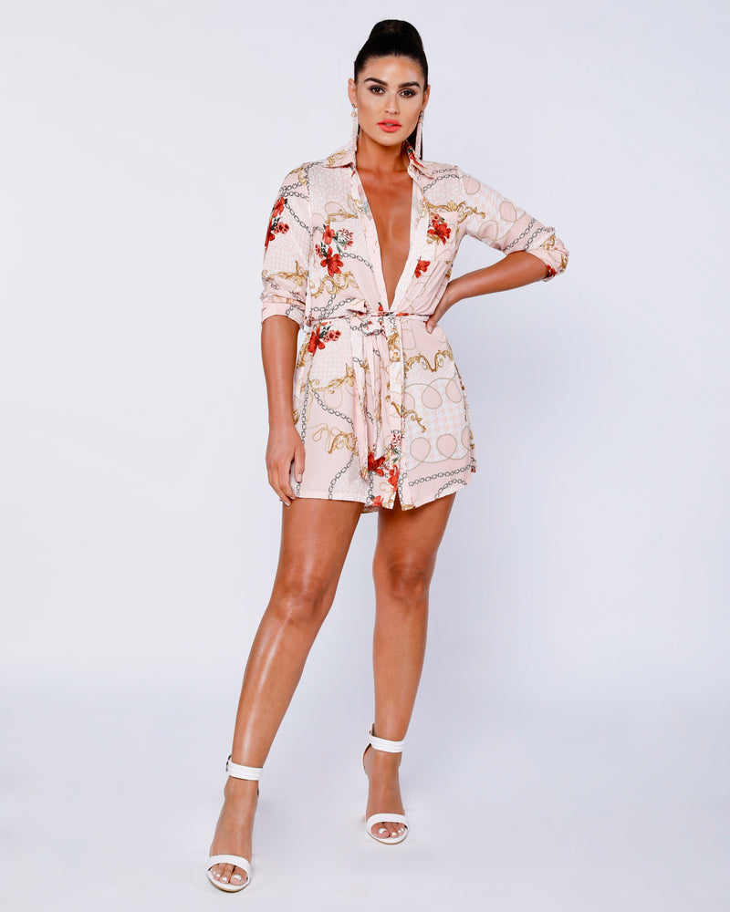 Jazmin Scarf Print Shirt Dress