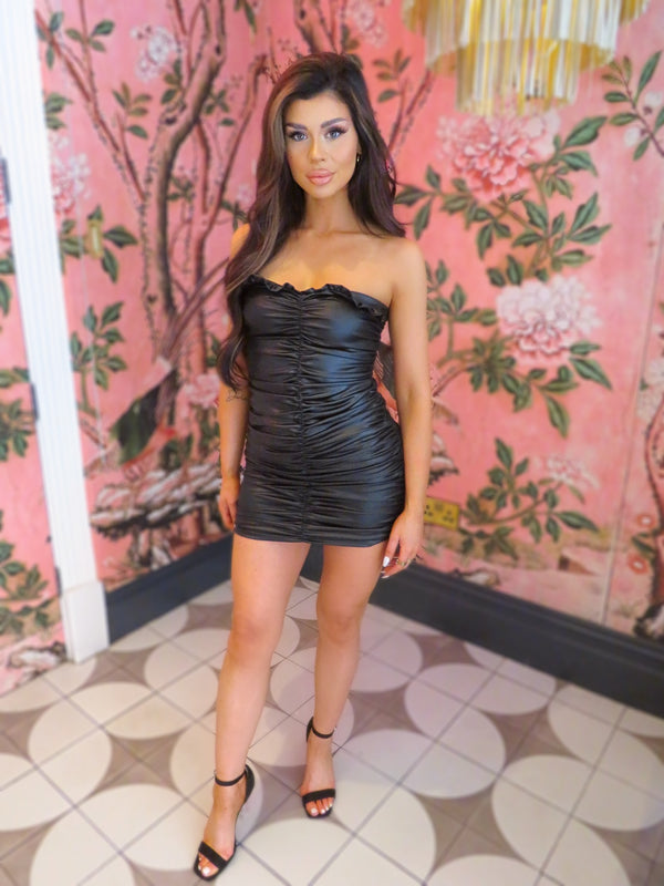 Black Leather Look Ruched Dress