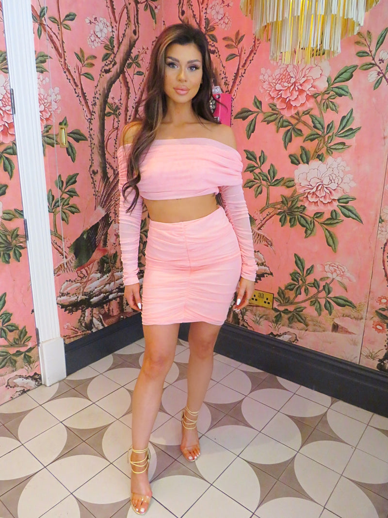 Pink Off Shoulder Ruched Co-Ord