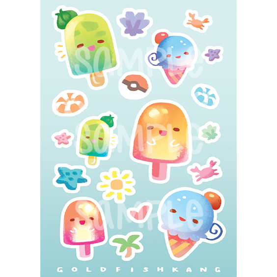 Stickers: Kanto Popsicles - Goldfishkang