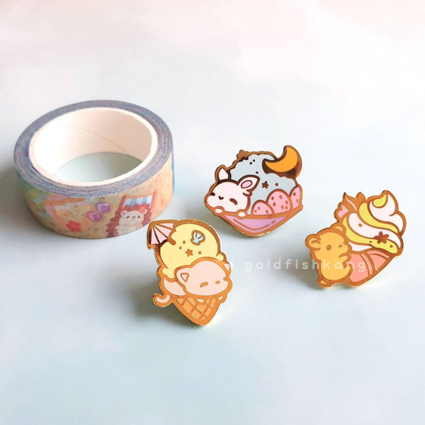 Slice of Summer Pin: Purrfait - Goldfishkang