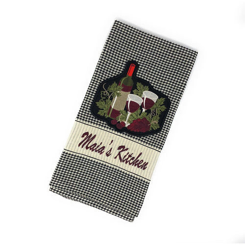 Personalized Wine Theme Embroidered Hand Towel