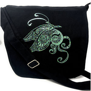 Bags - Black Canvas Messenger Bag Butterfly