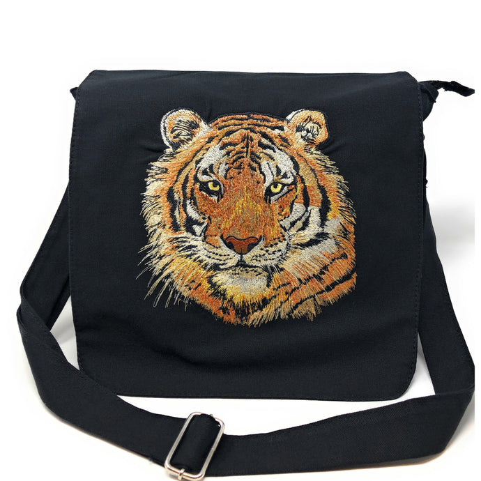 Bags - Black Canvas Messenger Bag Orange Tiger