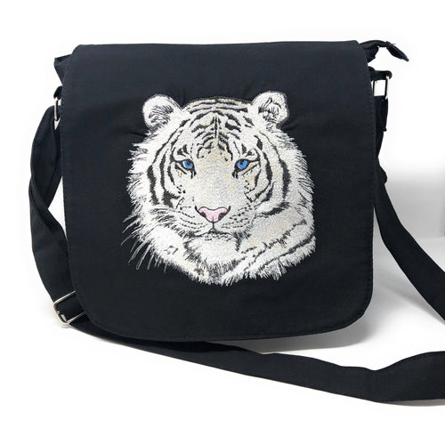 Bags - Black Canvas Messenger Bag White Tiger