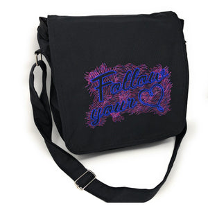 Bags - Follow Your Heart Black Canvas Messenger Bag For Women, Embroidered