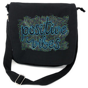 Bags - Positive Vibes Black Canvas Messenger Bag For Women Embroidered