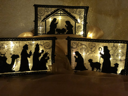 Lighted Indoor Nativity Set Gold