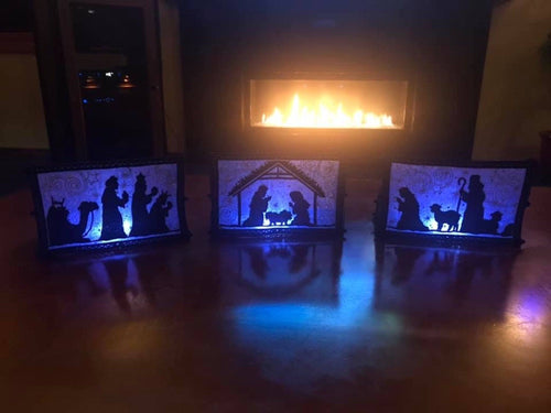Lighted Indoor Tabletop Nativity Set Blue