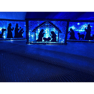 Lighted Indoor Tabletop Nativity Set In Blue - Limited Quantities