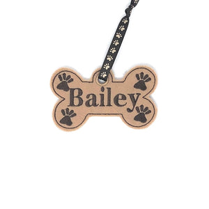 Personalized Dog Bone Stocking Tag - Brown