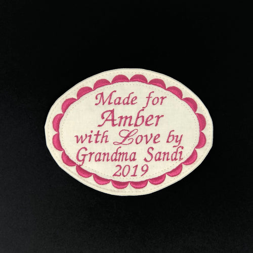 Quilt Labels - Custom Embroidered Oval Label