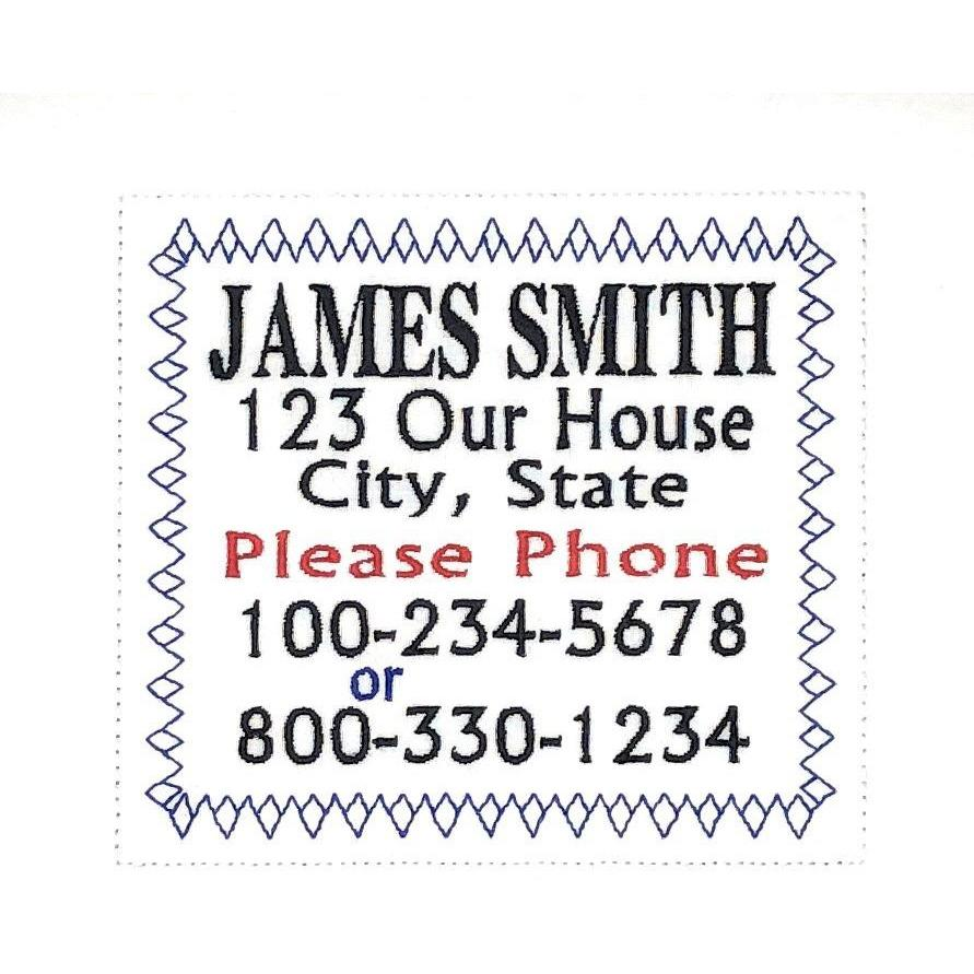 Quilt Labels - Embroidered Name Tag Identification 4.5x5.5